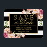 "Save the Date - Gold Floral Decor B&amp;W Stripes Magnet<br><div class=""desc"">================= ABOUT THIS DESIGN ================= Save the Date - Gold Floral Decor B&amp;W Stripes Magnetic Card. (1) All text style, colors, sizes can be modified to fit your needs. (2) If you need any customization or matching items, please contact me. (3) You can find matching products (e.g. Invites, RSVP card,...</div>"