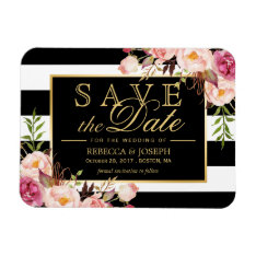 Save The Date - Gold Floral Decor B&w Stripes Magnet at Zazzle