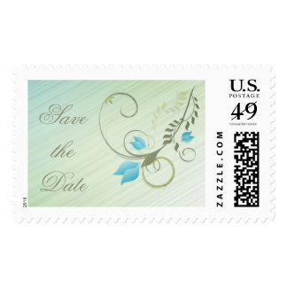 Save the Date Gold Flower Postage Stamp