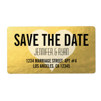 SAVE THE DATE GOLD FOIL ADDRESS LABELS