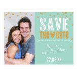 SAVE THE DATE gold glitter confetti trendy mint Postcard