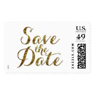 Save the Date Gold Glitter Confetti Wedding Stamp