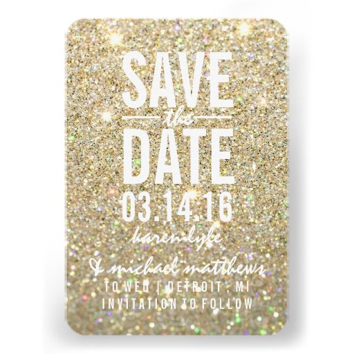 Save the Date   Gold Glitter Fab Invites