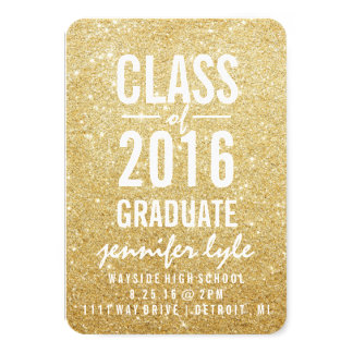 "Save the Date | Gold Glitter Grd 3.5"" X 5"" Invitation Card"