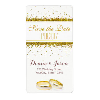 Save the Date Gold Glitter Rings - Address Label