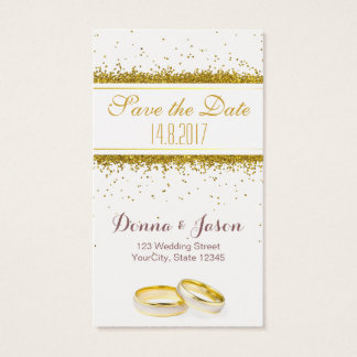 Save the Date Gold Glitter Rings - Business Card