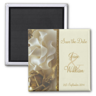 Save the Date Gold & Ivory Wedding Cake Roses 2 Inch Square Magnet