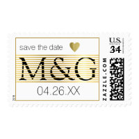 save the date / gold lines monogram love wedding postage