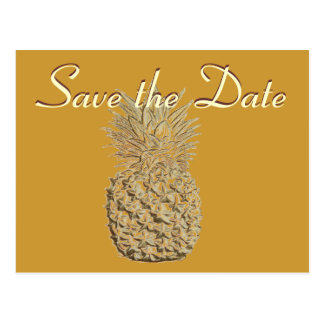 Save the Date Gold Pineapple Postcard