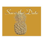 Save the Date Gold Pineapple Postcards
