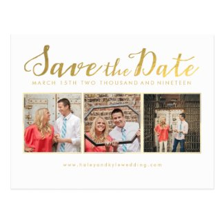 Save the Date Gold Script Typography Photo cards