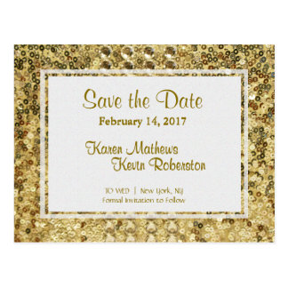 Save the Date | Gold Sequins Postcard