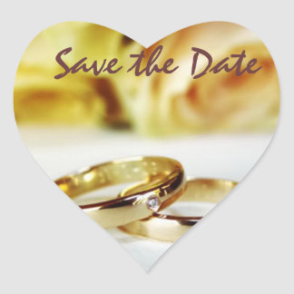 Save the date/Gold Wedding Bands Heart Sticker