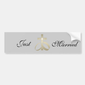 Save the Date Gold Wedding Rings and Cross Bumper Sticker