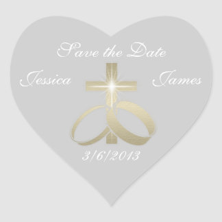 Save the Date Gold Wedding Rings and Cross Heart Sticker