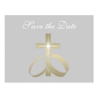 Save the Date Gold Wedding Rings and Cross Postcard