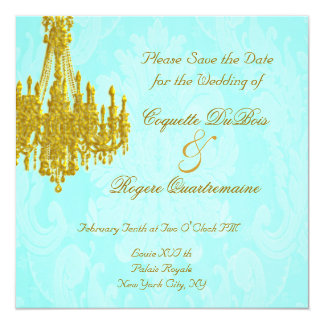 Save the Date Golden Chandelier and Aqua Damask Card