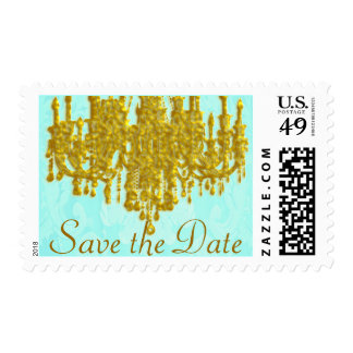 Save the Date Golden Chandelier with Aqua Damask Postage
