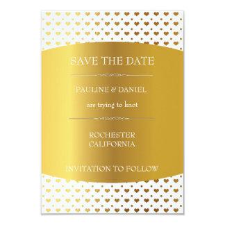 Save the Date Golden Heart Confetti Card