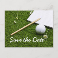 Save the date golf ball with pencil on green invitation postcard