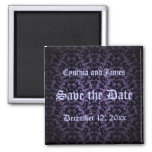 Save the Date Gothic purple and black magnet