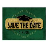 Save The Date Graduation Modern Green Gold Postcard