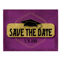 Save The Date Graduation Modern Purple Gold Postcard