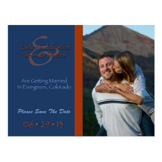 Save The Date Graphic Blue and Orange Postcard