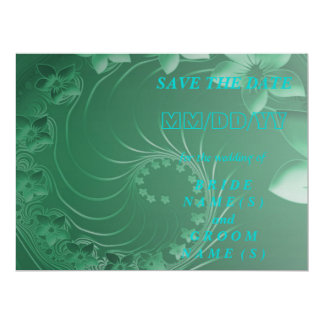 Save the Date - Green Abstract Flowers Card
