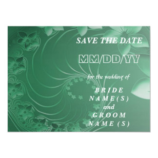 Save the Date - Green Abstract Flowers 6.5x8.75 Paper Invitation Card