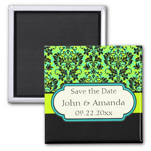 Save the Date Green and Black Customizable Magnet