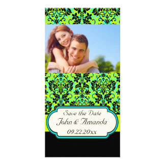 Save the Date ~ Green and Black Damask Card