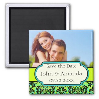 Save the Date Green and Black Photo Refrigerator Magnets