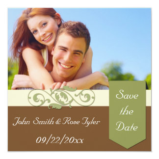 """Save the Date Green and Brown 5.25"""" Square Invitation Card"""