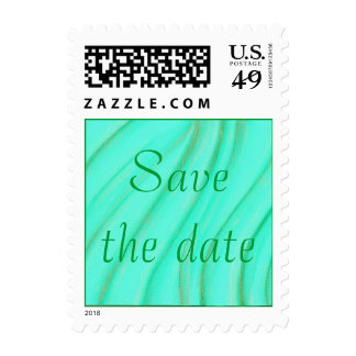 Save the date, green and gold wedding stamps
