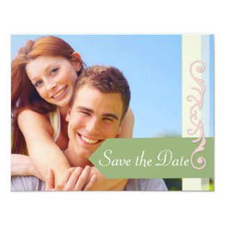 """Save the Date Green and Pink 4.25"""" X 5.5"""" Invitation Card"""