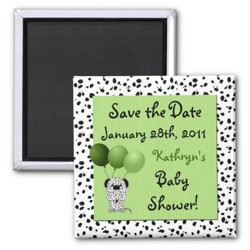 Save the Date Green Baby Shower Magnet