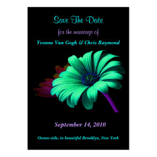Save The Date Green Blue Daisy I Large Business Cards (Pack Of 100)