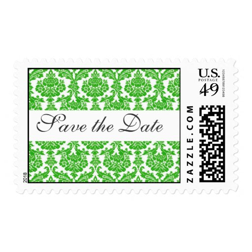 save the date,green damask stamps