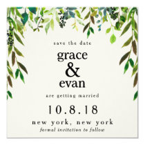 Save the Date Green Floral Leaf Olive Wreath Invitation