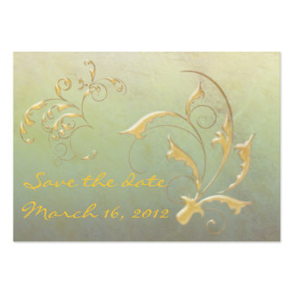 Save the Date green/gold Large Business Cards (Pack Of 100)