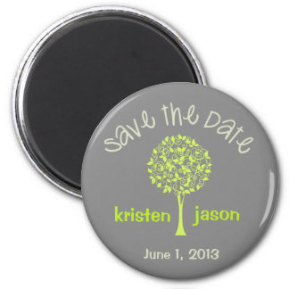 Save the Date Green/Gray Tree Magnet