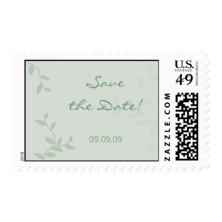 Save the Date Green Leaves Wedding Stamp
