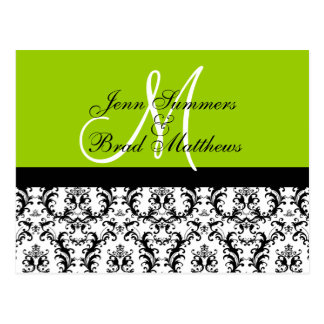 Save the Date Green Monogram Damask Card Postcards