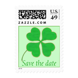 Save the date green shamrock, wedding stamps