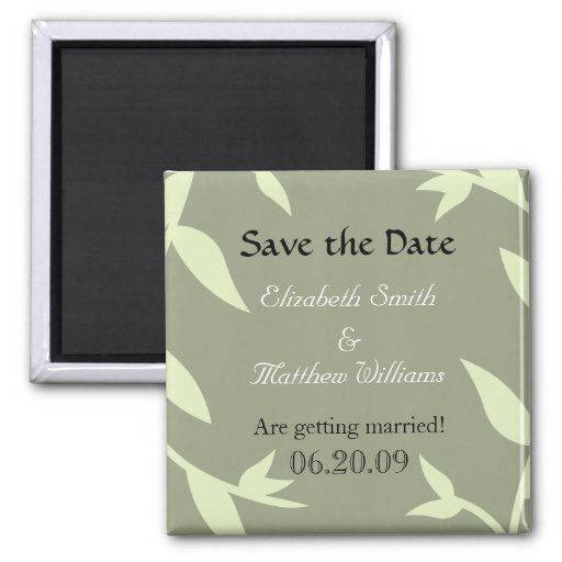 Save the Date Green Vines Magnet
