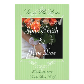 Save The Date - Green Vintage Style Photo Center Card