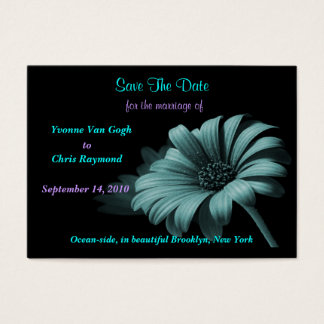 Save The Date Grey Blue Daisy Business Card