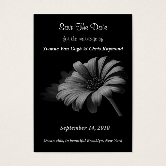 Save The Date Grey Daisy I Business Card