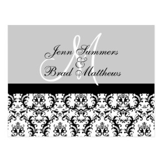 Save the Date Grey Gray Monogram Damask Card Post Card